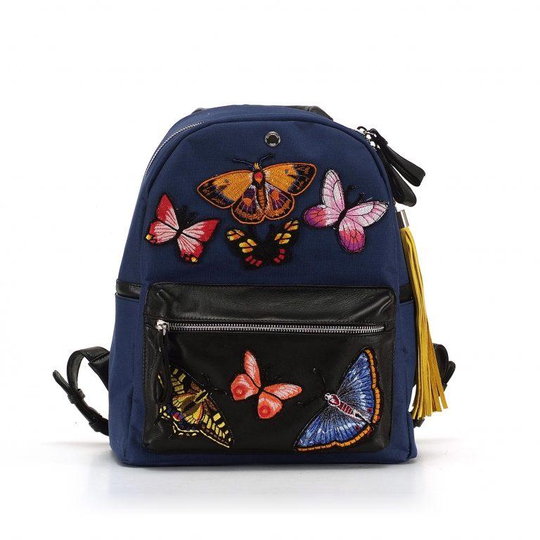 c53cc7d636c7 Главная / Магазин / Женские кожаные рюкзаки / Средние рюкзаки M size /  Рюкзак с бабочками синего цвета M